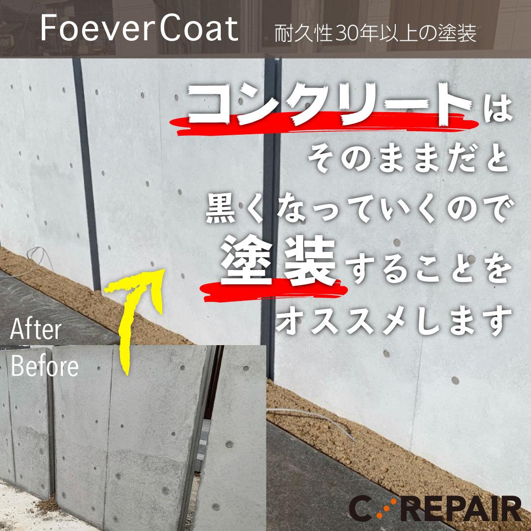 コンクリート塀に塗装
